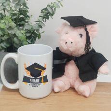 Personalised Graduation Coffee Mug and Pig Set