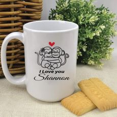 Personalised Love Monkey Valentines Coffee Mug