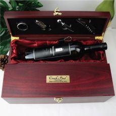 Coach Personalised Wine Box Rosewood Gift Set