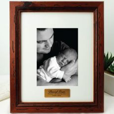 Christening Personalised Photo Frame 5x7 Mahogany Wood