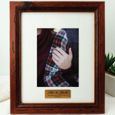 Engagement Personalised Photo Frame 5x7 Mahogany Wood