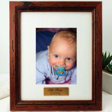 Naming Day Personalised Photo Frame 5x7 Mahogany Wood