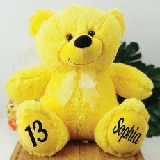 Personalised 13th Birthday Teddy Bear 40cm Plush  Yellow