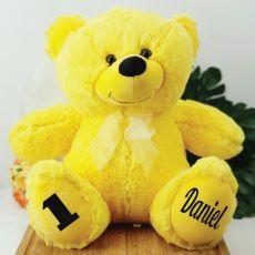 Personalised 1st Birthday Teddy Bear 40cm Plush  Yellow